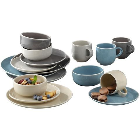 CreaTable combi-servies, aardewerk, 16-delig, BOSTON