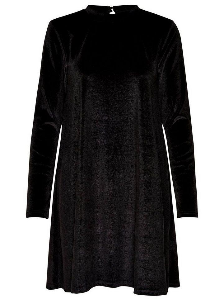 ONLY Fluwelen jurk met lange mouwen zwart