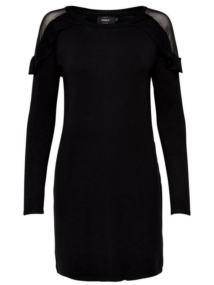 NU 21% KORTING: ONLY Ruche jurk met lange mouwen zwart
