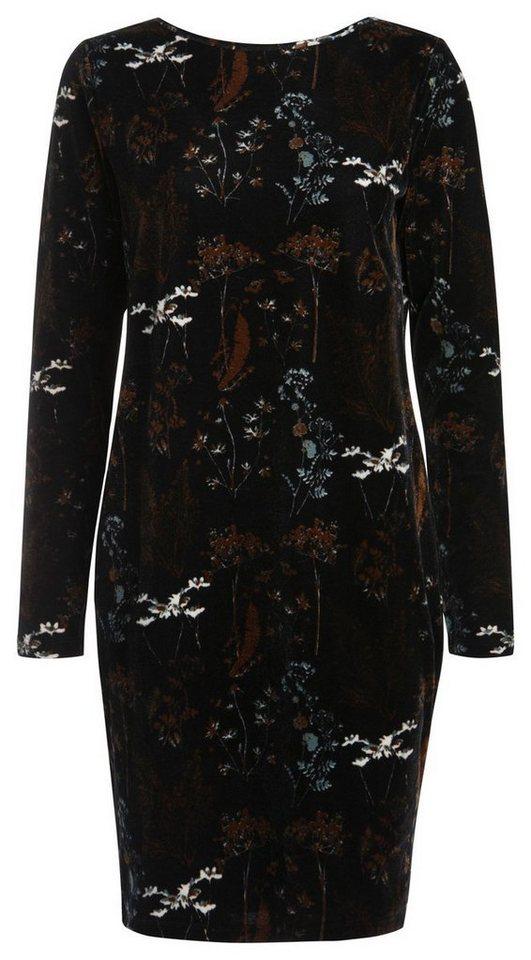 Pieces Bedrukte velours jurk zwart