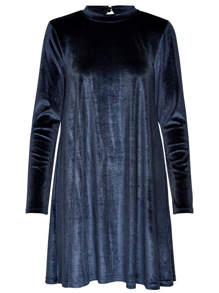 ONLY Fluwelen jurk met lange mouwen blauw