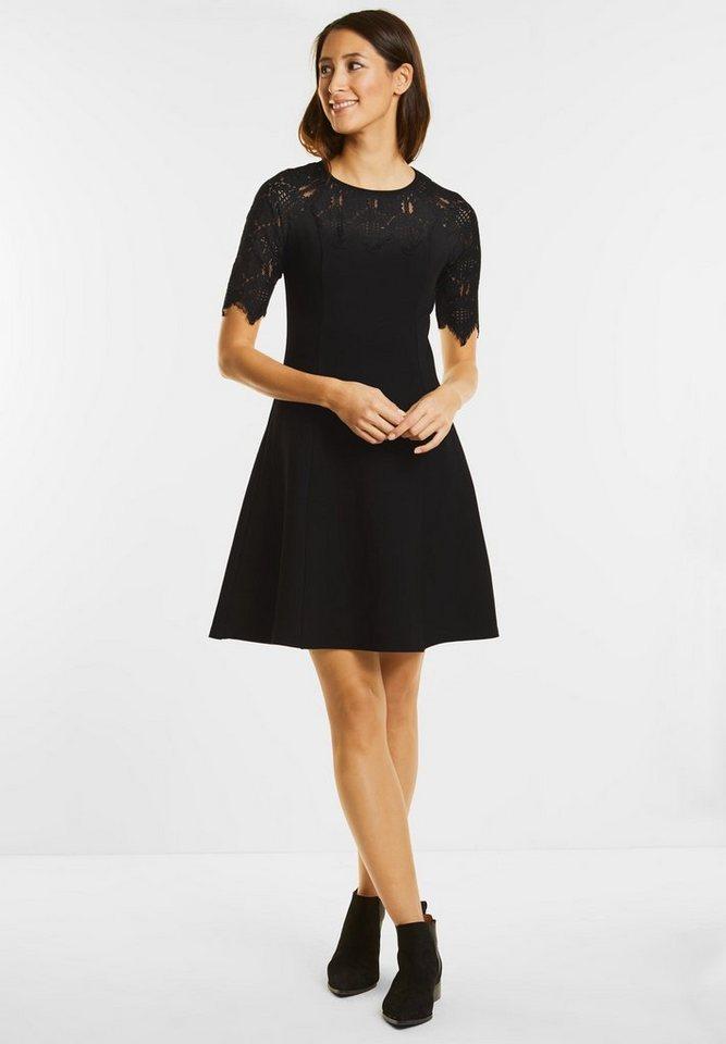 Street One jersey jurk met kant zwart
