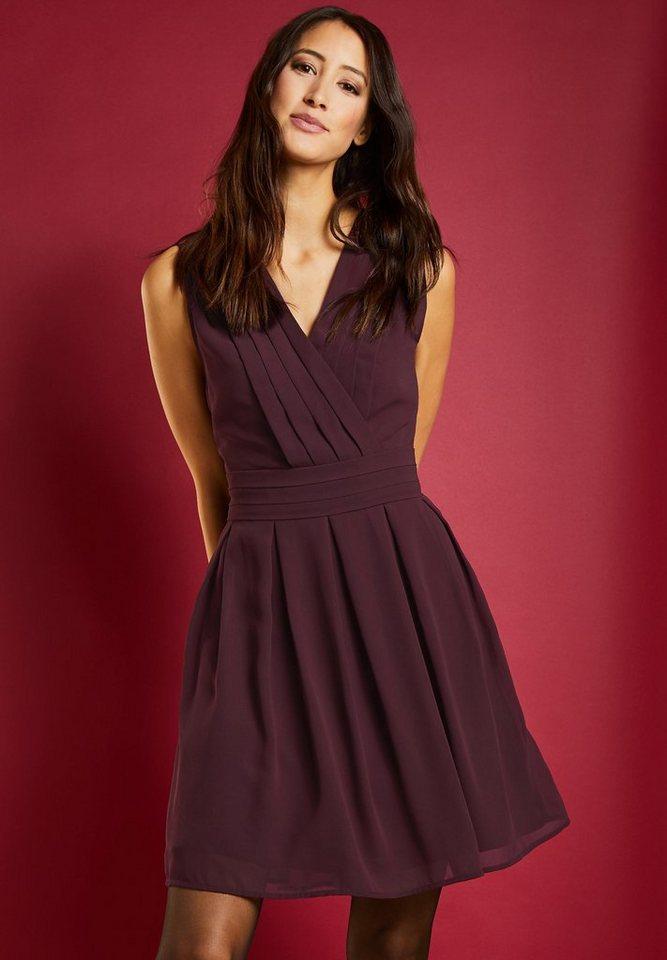 Street One chiffon jurk met biezen rood