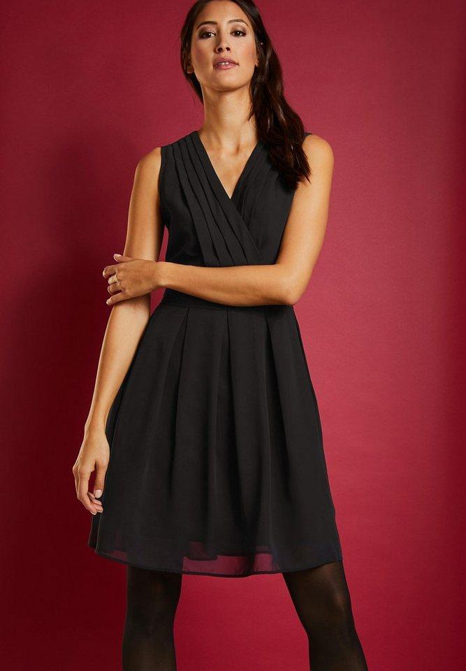 Street One chiffon jurk met biezen zwart