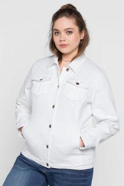 sheego denim sheego denim jeansjack in klassieke stijl wit