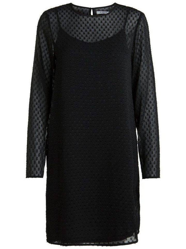 Pieces Gedetailleerde jurk zwart
