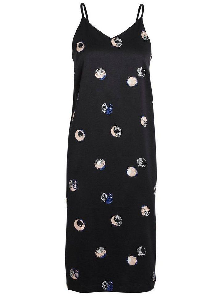 Pieces Gedessineerde mouwloze jurk zwart