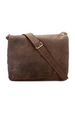 harold's leren messenger bag »antic« bruin
