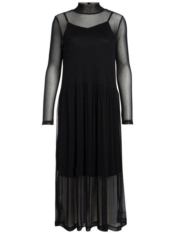 Pieces Lange high-neck jurk zwart