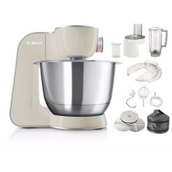 bosch keukenmachine mum5 creationline mum58l20 veelzijdig te gebruiken, continu rasp- en snijapparaat, 3 raspschijven, mixer, grijs-zilverkleur zilver