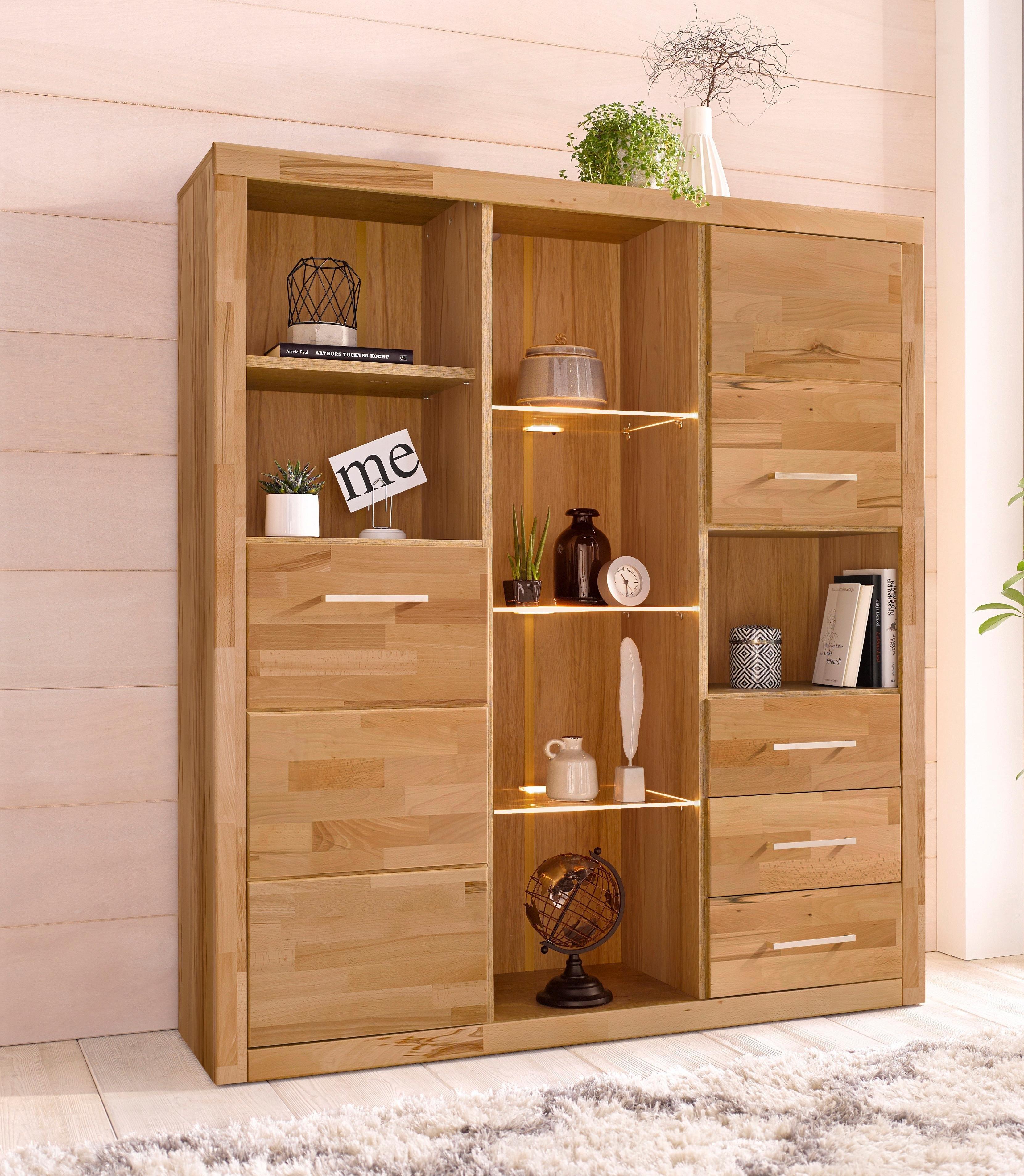 Highboard, breedte 130 cm met 2 houten deuren nu online kopen bij OTTO