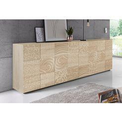 lc »miro« dressoir, breedte 241 cm met decoratieve zeefdruk beige