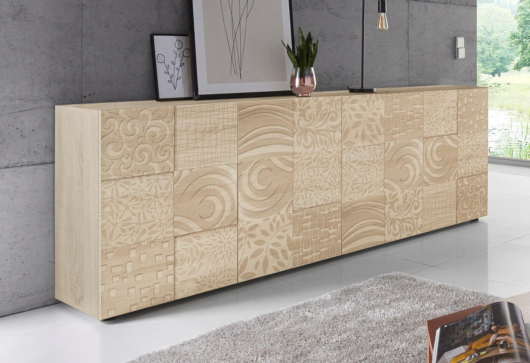 Lc »Miro« dressoir, breedte 241 cm met decoratieve zeefdruk nu online kopen bij OTTO