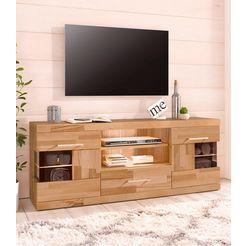 tv-meubel, breedte 140 cm met 1 lade en 2 deuren met glasinzet beige