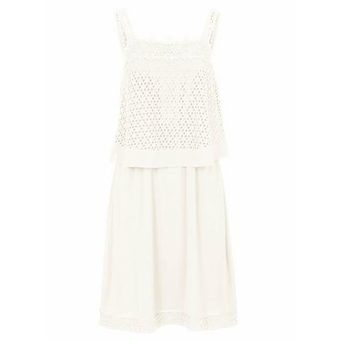 jurk met ronde hals wit