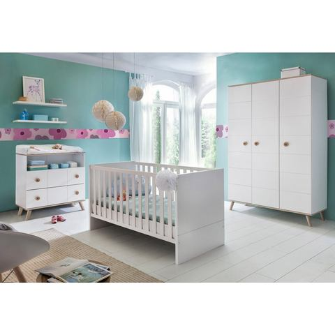 Babykamer Cannes, ledikantje + commode + 3-deurskast (3-dlg.), in alpinewit-imitatie-eiken