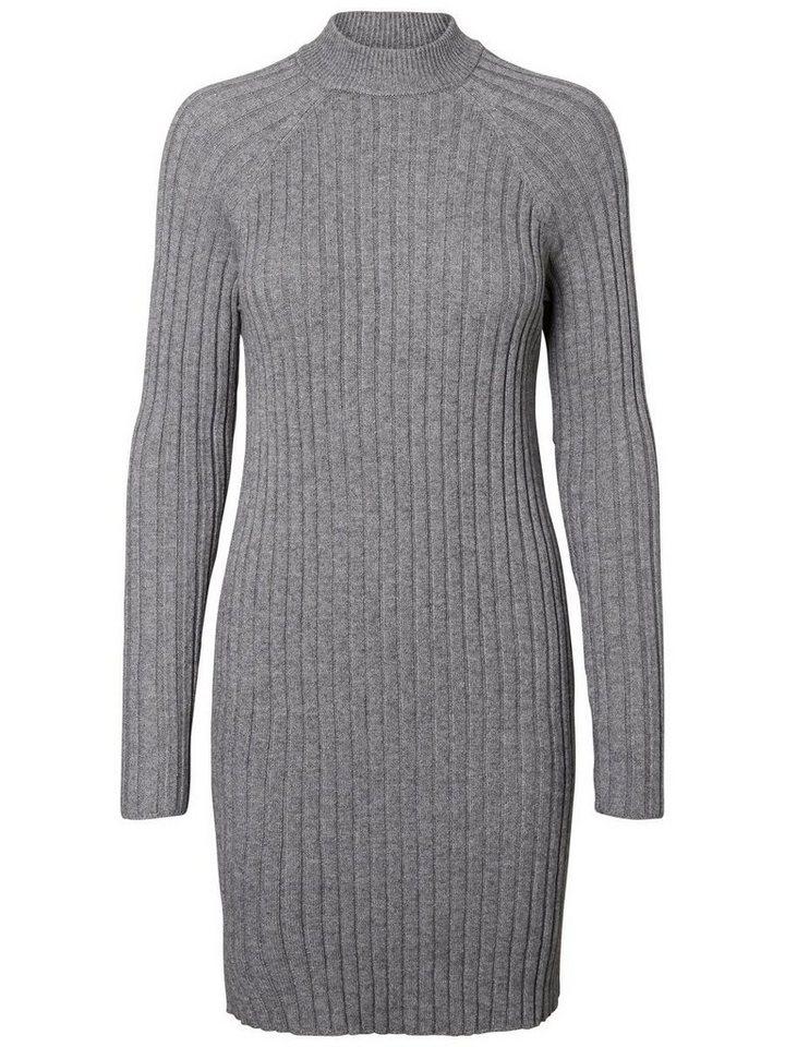Vero Moda Lange mouw gebreide jurk grijs