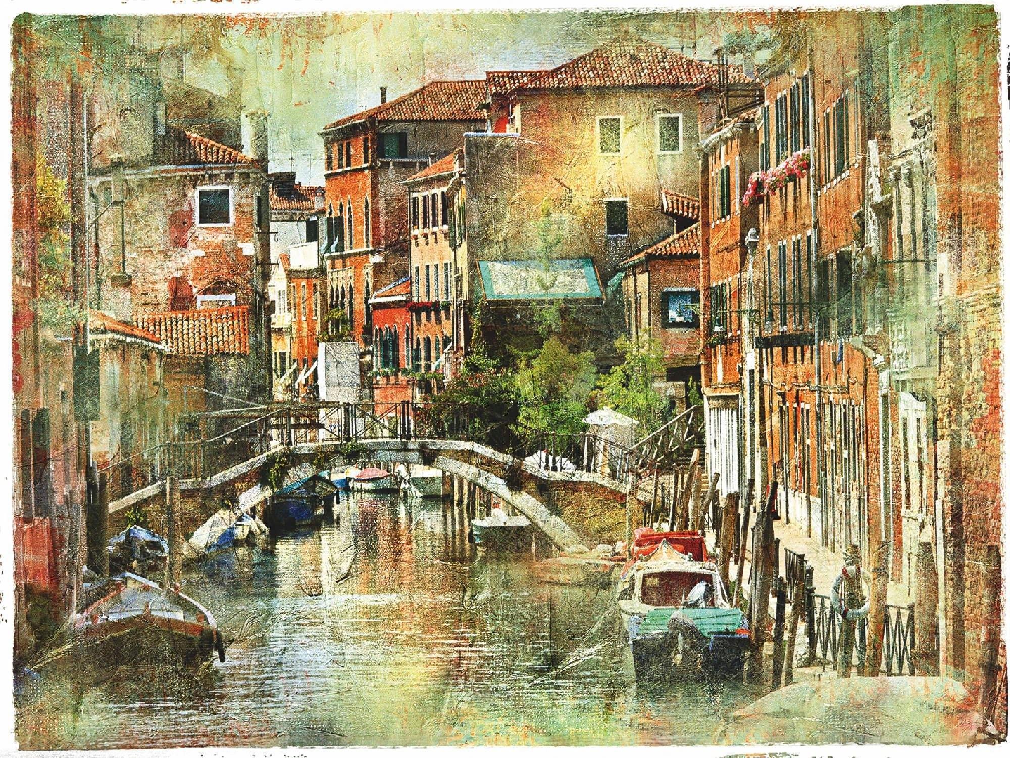 Home affaire artprint op linnen Venetië, Artistieke presentatie in schilderstijl 80/60 cm bestellen: 30 dagen bedenktijd