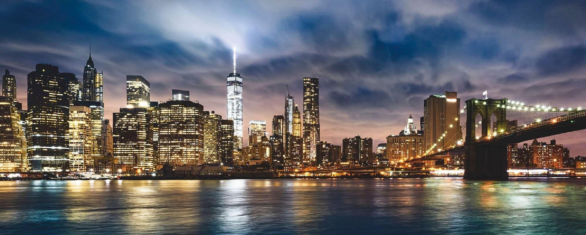 Places of Style print op glas New York City - Zonsopkomst boven Manhattan/Brooklyn Bridge VS 125/50 cm bestellen: 30 dagen bedenktijd