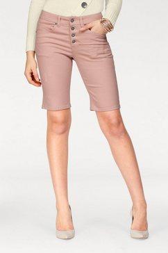arizona jeansbermuda »met zichtbare knopenlijst« rosa
