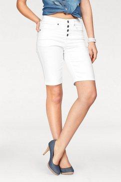 arizona jeansbermuda met zichtbare knoopsluiting high waist wit