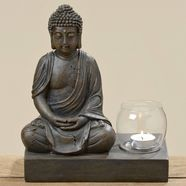 home affaire windlicht »buddha«, hoehe 25 cm bruin