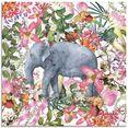 artland print op glas olifant in bloemen jungle (1 stuk) roze