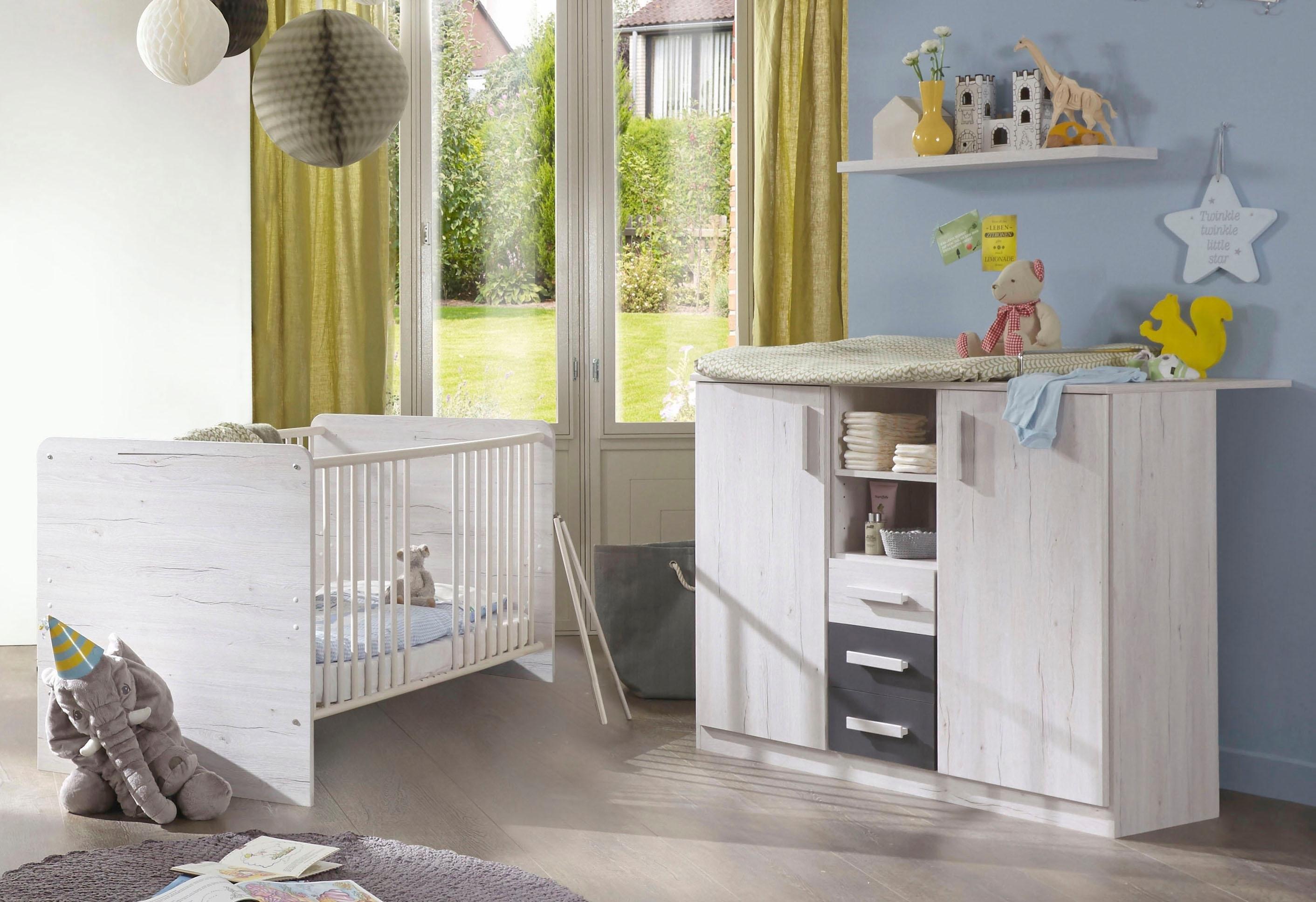 Babykamer Wit Grijs.Voordeelset Babykamer Bergamo Ledikantje Commode 2 Dlg In Imitatie Witeiken Lava
