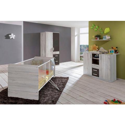 Babykamer Bergamo, ledikantje + commode + 2-deurskast (3-dlg.), in imitatie-witeiken-lava