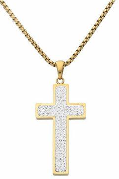 firetti kruisketting met talrijke kristallen goud