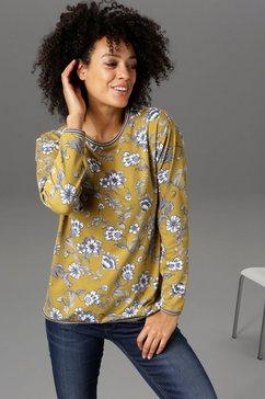 aniston casual sweatshirt met gestreepte boorden - nieuwe collectie goud