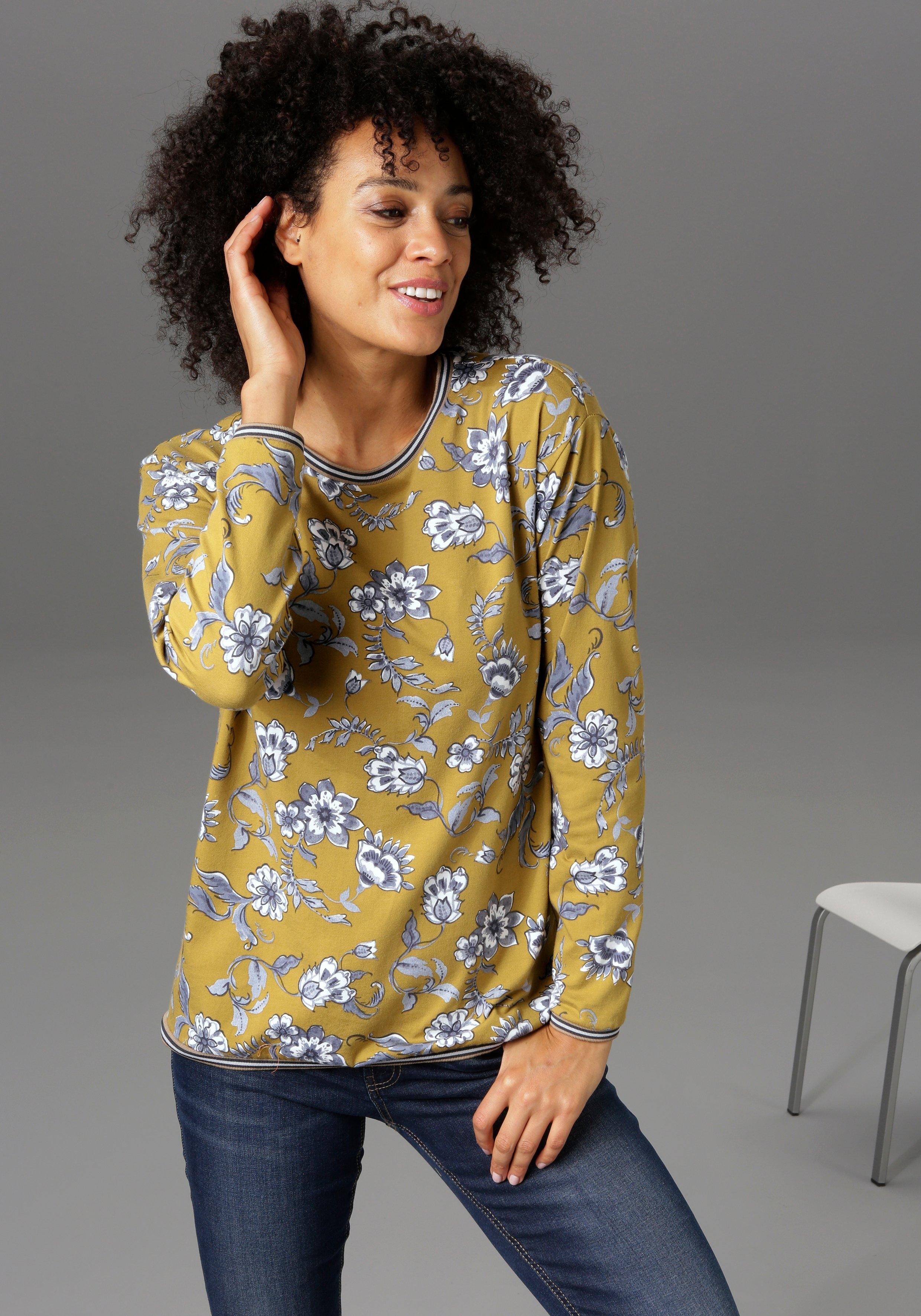 Aniston CASUAL sweatshirt met gestreepte boorden - nieuwe collectie nu online bestellen