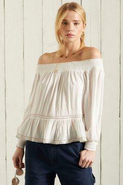 superdry top ameera off shoulder top offshoulder-blouse in boho-stijl wit