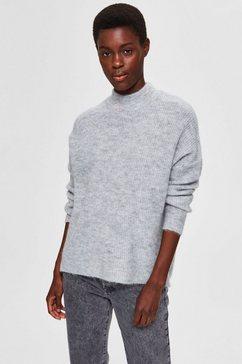 selected femme trui met staande kraag slflulu enica behaaglijk zachte wolblend-kwaliteit grijs