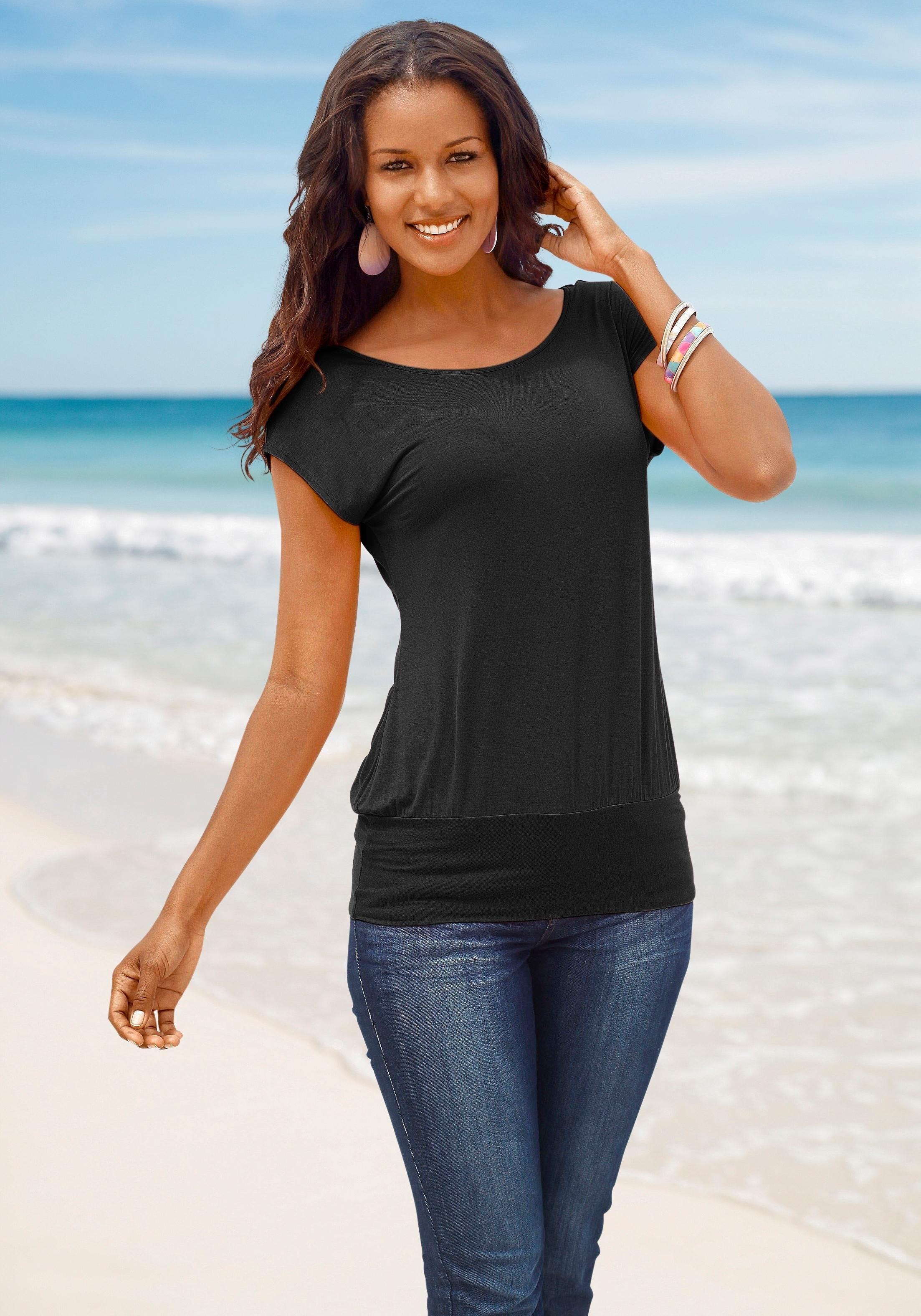 LASCANA lang shirt met brede boord online kopen op otto.nl