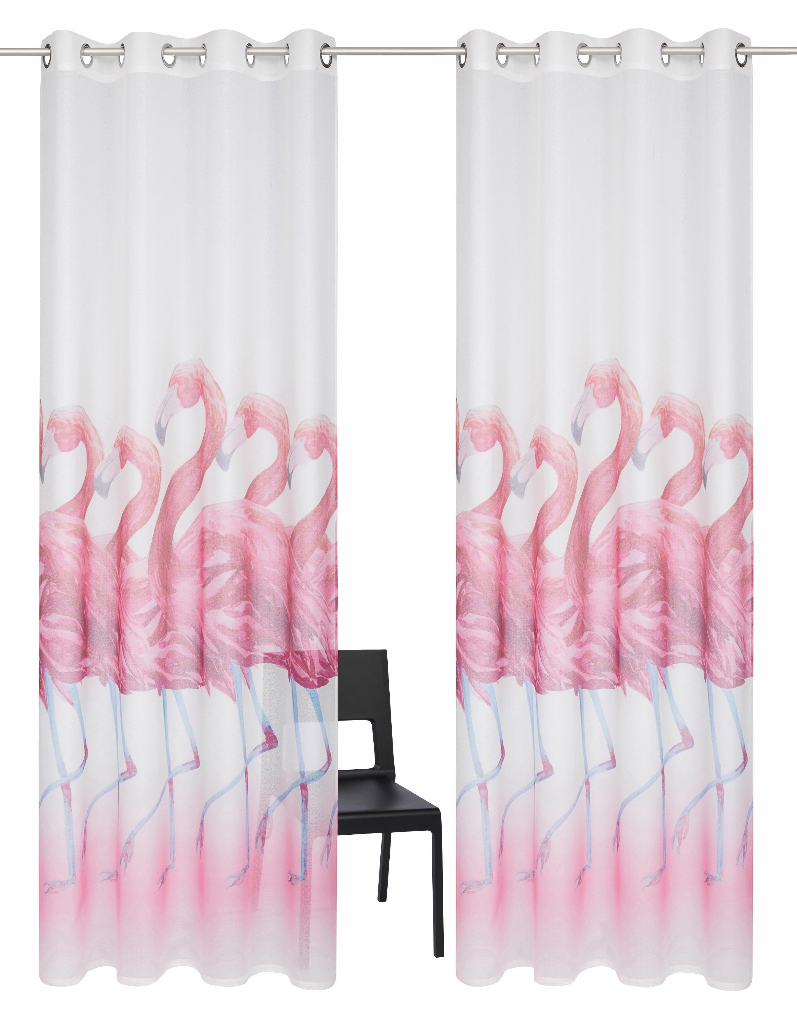 Gordijn, My Home, »Flamingo«, met ringen (set van 2) online kopen | OTTO