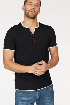 john devin layer-shirt met sierknoopsluiting zwart