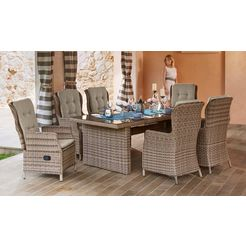 merxx tuinmeubelset »riviera«, 13 delen, 6 hoge ruggen, tafel 200x100 cm, polyrotan beige