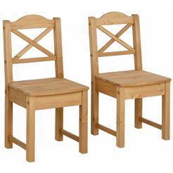 home affaire stoel »vanda«, met rugleuning in kruis-look van massief hout, zithoogte 43 cm beige