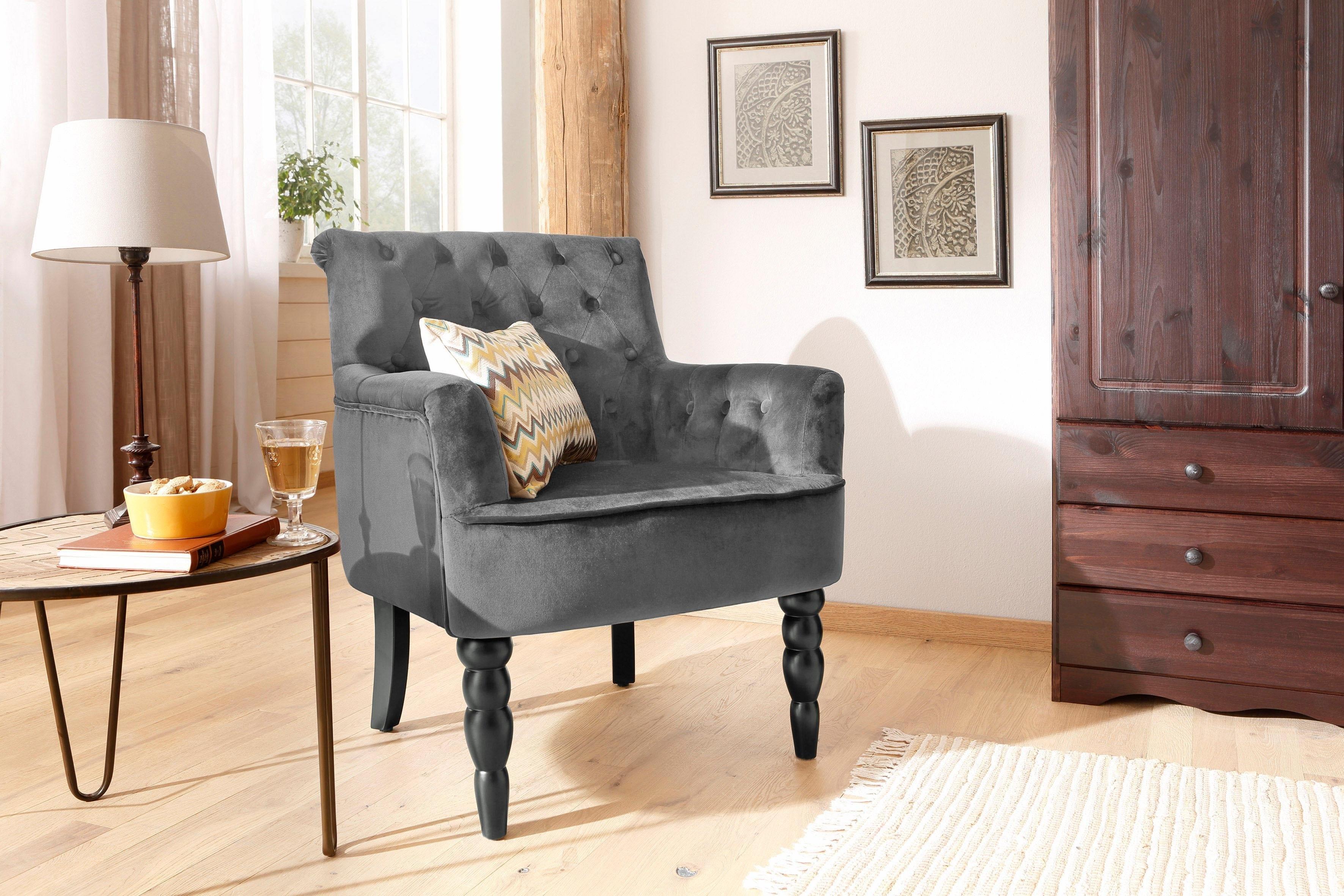 Home Affaire fauteuil »Alexia«, met gedraaide poten voor en capitonnage achter - verschillende betaalmethodes