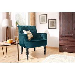 home affaire fauteuil »alexia«, met gedraaide poten voor en capitonnage achter groen