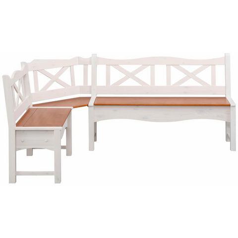 Home affaire hoekbank Vanda, met 2 opbergruimten en een groot zitoppervlak van massief hout