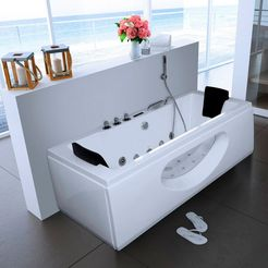 complete set: whirlpoolbad »white m«, bxdxh in cm: 180x90x55, met whirlpoolsysteem wit