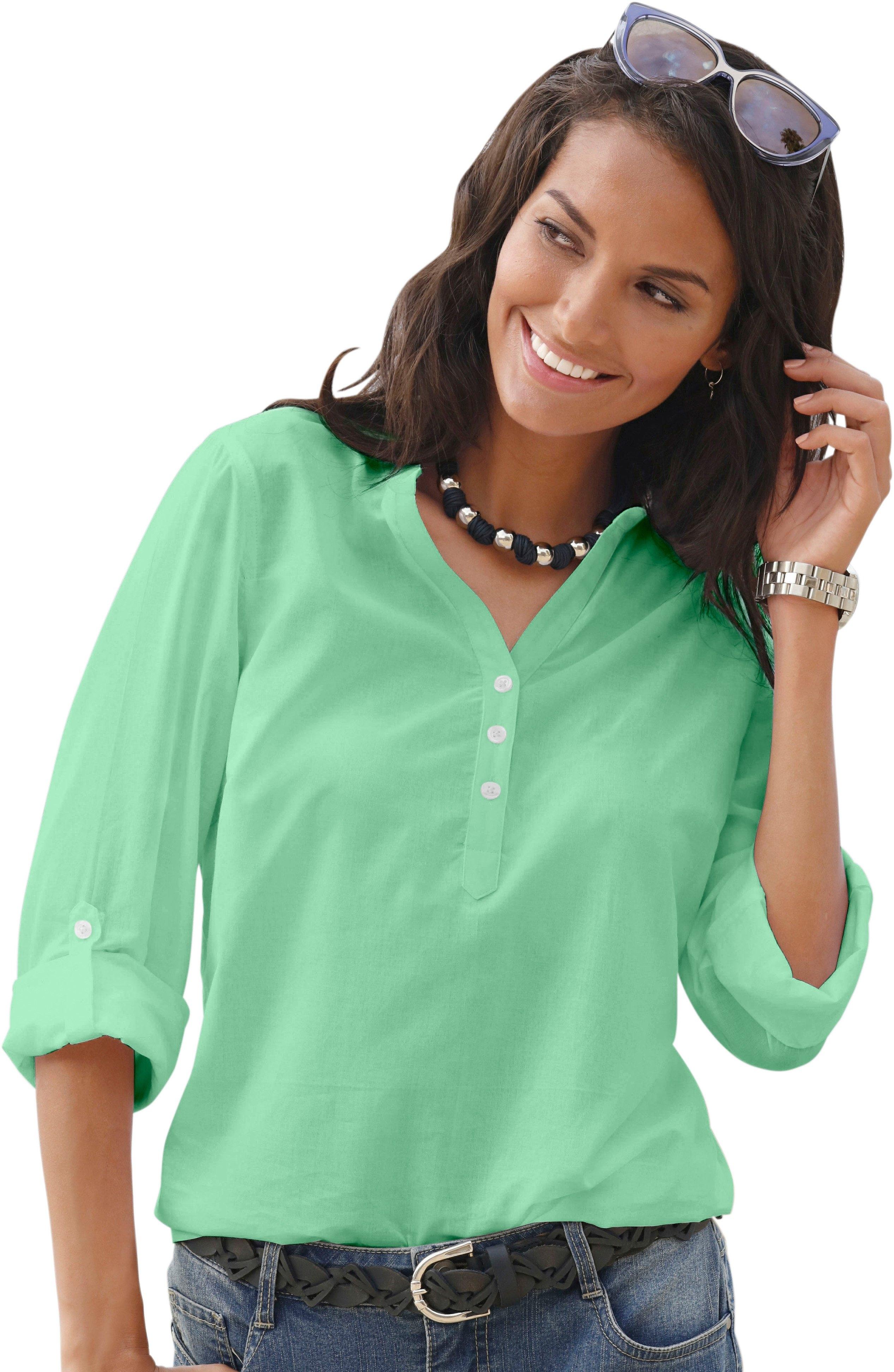 6547708158a ... Blouse met stippen, CHEER blouse in lang model, Tuniek in transparante  georgette-kwaliteit, Classic Inspirationen blouse van puur katoen