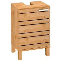 home affaire wastafelonderkast josie breedte 40 cm, van massief hout, metalen greep, 1 deur beige