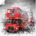 artland artprint londen westminster rode bussen in vele afmetingen  productsoorten - artprint van aluminium - artprint voor buiten, artprint op linnen, poster, muursticker - wandfolie ook geschikt voor de badkamer (1 stuk) rood