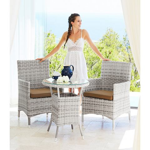 Tuinmeubelset Bali, 5-dlg., 2 stoelen, 1 tafel Ø 60 cm, poly-rotan, wolwit