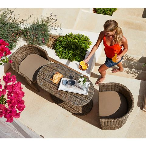 MERXX Tuinmeubelset Ancona Wicker, 5 st., 2 fauteuils, ovale tafel, polyrattan