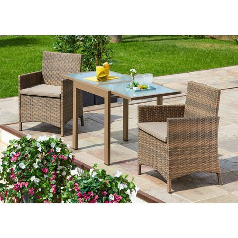 Tuinmeubelset Treviso Premium, 5-dlg., 2 fauteuils, tafel 65x130 cm, poly-rotan