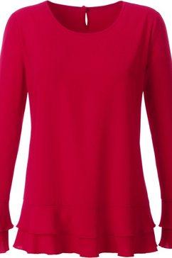 creation l blouse met volants aan de mouwen en onderlangs rood